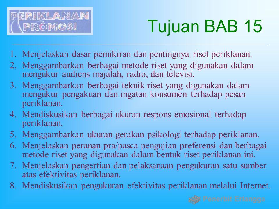 Tujuan BAB 15 Menjelaskan dasar pemikiran dan pentingnya riset periklanan.