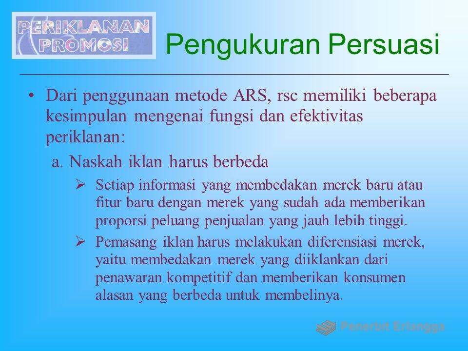 Pengukuran Persuasi Dari penggunaan metode ARS, rsc memiliki beberapa kesimpulan mengenai fungsi dan efektivitas periklanan: