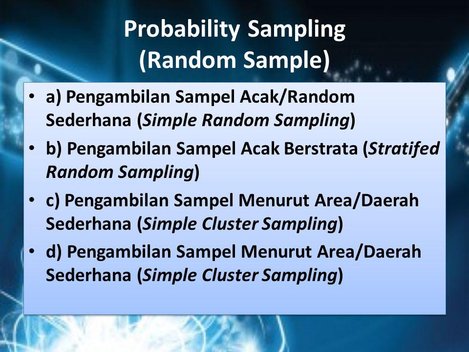 Probability Sampling (Random Sample)