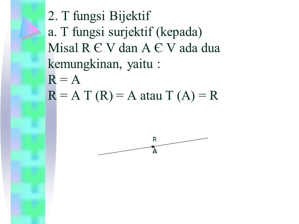 2. T fungsi Bijektif a. T fungsi surjektif (kepada) Misal R Є V dan A Є V ada dua kemungkinan, yaitu : R = A R = A T (R) = A atau T (A) = R