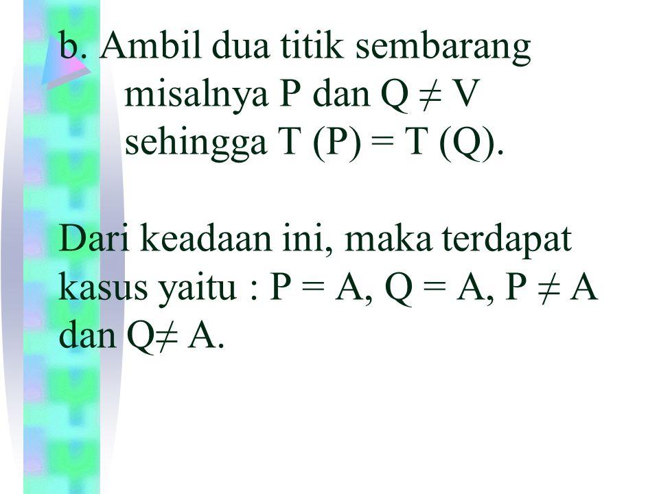 b. Ambil dua titik sembarang. misalnya P dan Q ≠ V