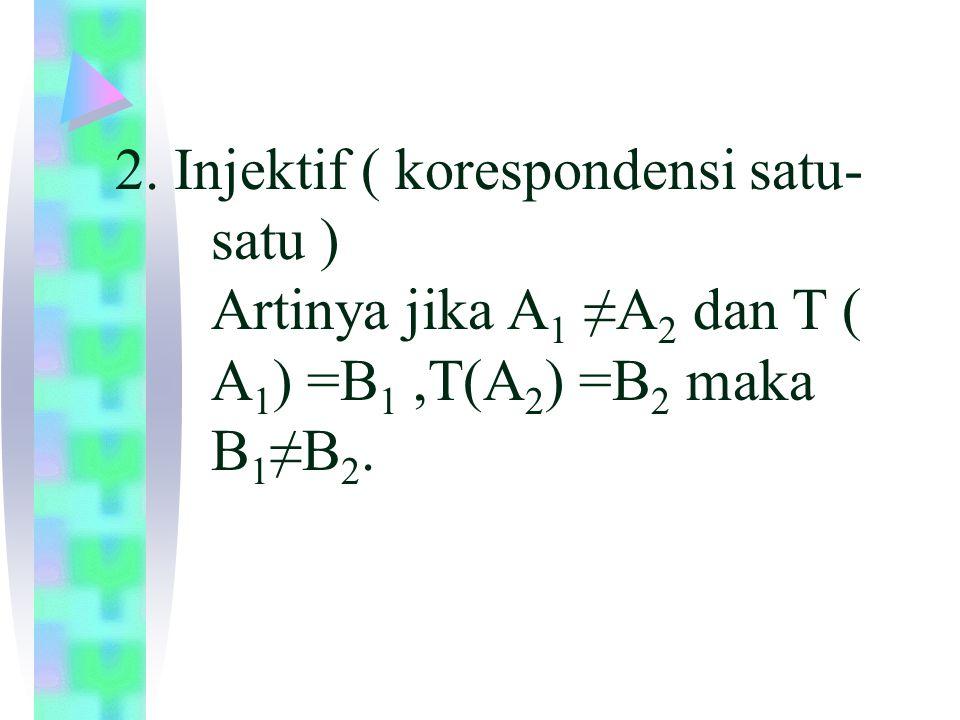2. Injektif ( korespondensi satu-. satu ). Artinya jika A1 ≠A2 dan T (