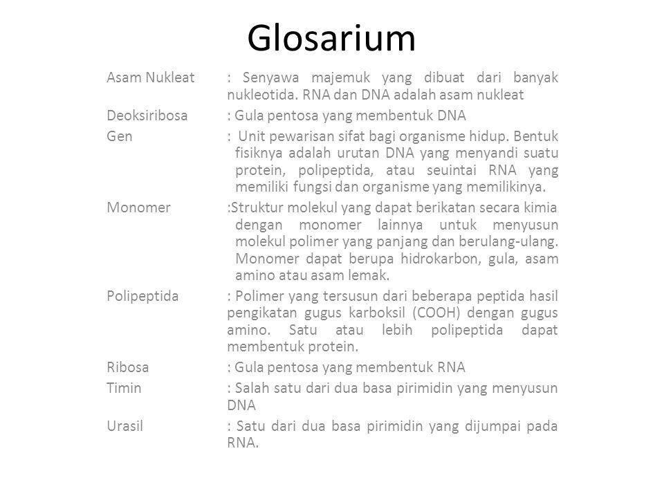 Glosarium Asam Nukleat : Senyawa majemuk yang dibuat dari banyak nukleotida. RNA dan DNA adalah asam nukleat.