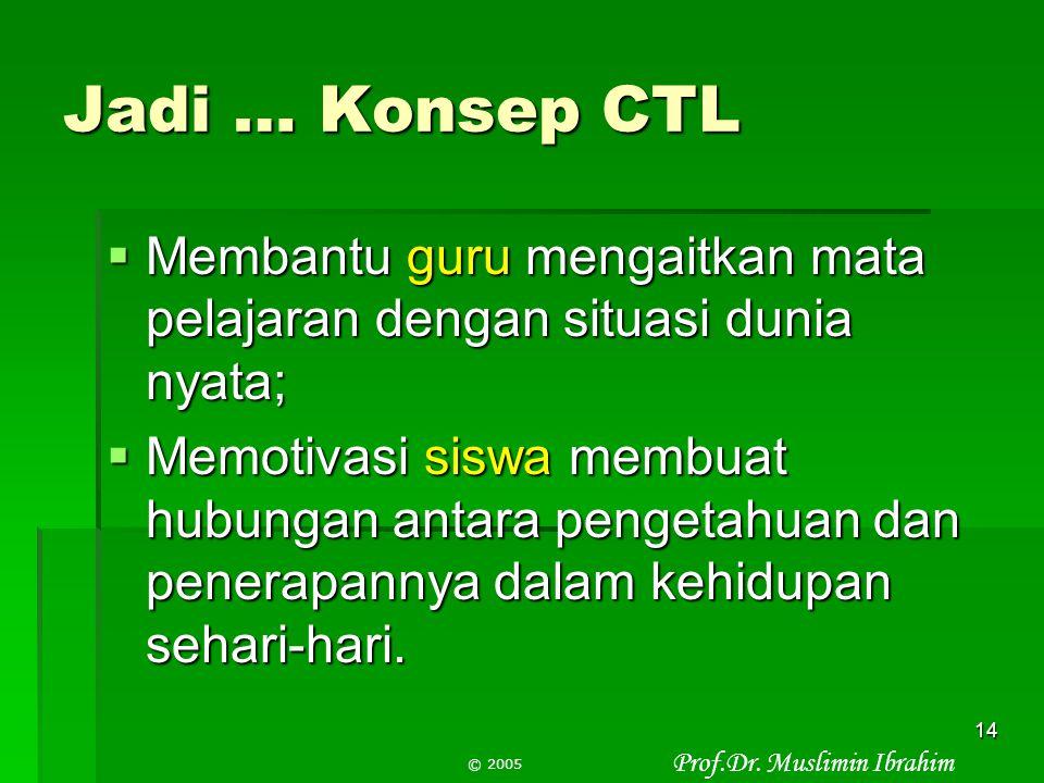 Jadi … Konsep CTL Membantu guru mengaitkan mata pelajaran dengan situasi dunia nyata;