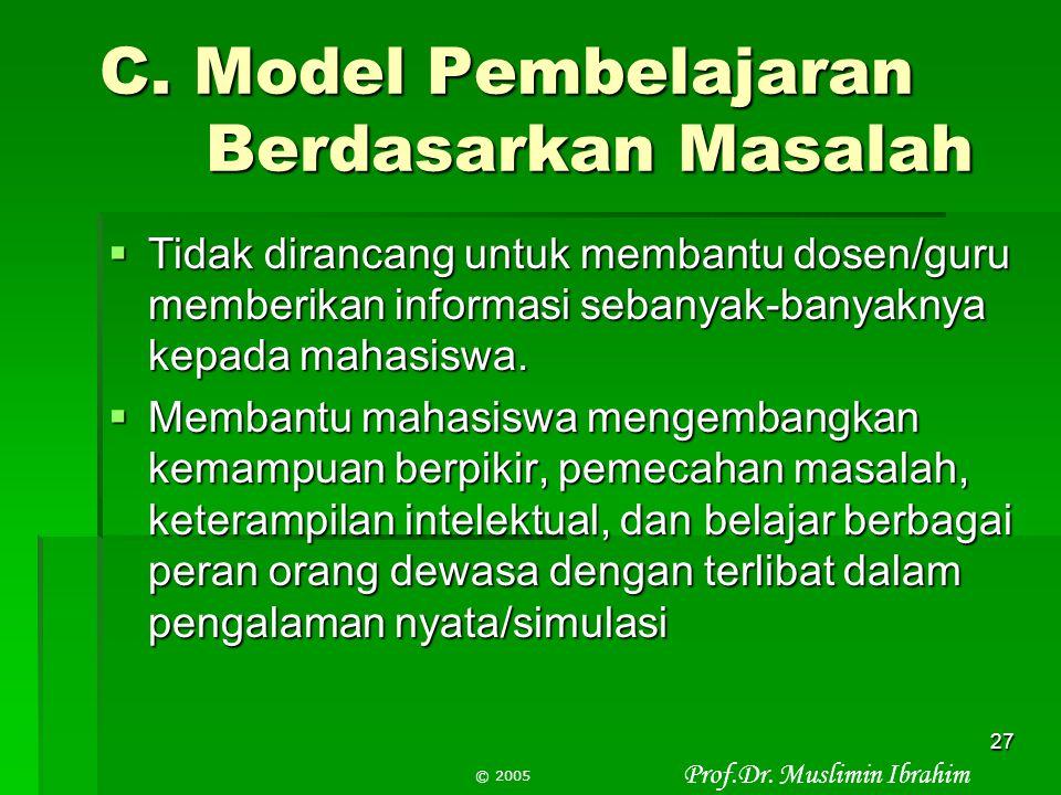 C. Model Pembelajaran Berdasarkan Masalah