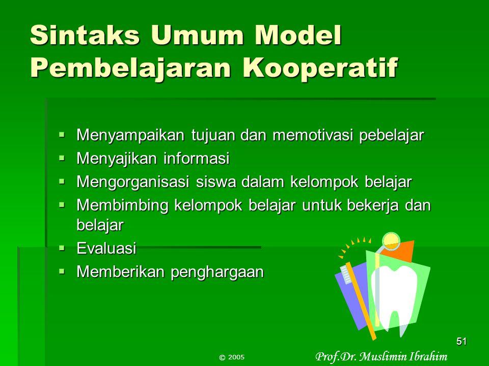 Sintaks Umum Model Pembelajaran Kooperatif