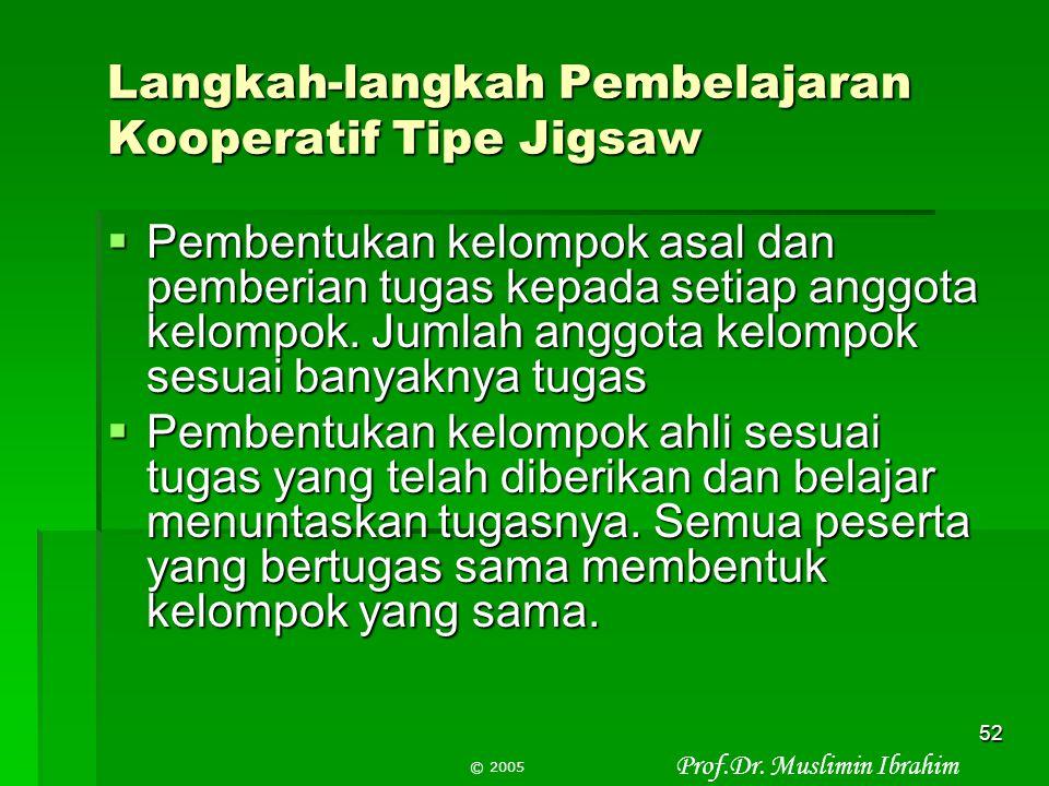Langkah-langkah Pembelajaran Kooperatif Tipe Jigsaw