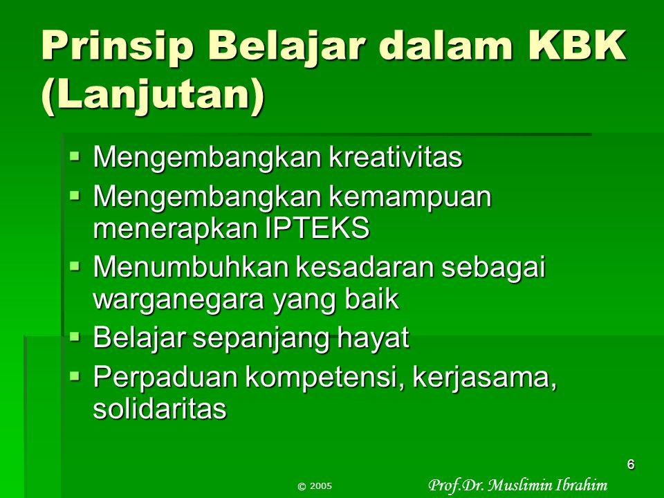 Prinsip Belajar dalam KBK (Lanjutan)