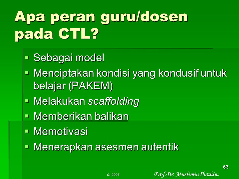 Apa peran guru/dosen pada CTL