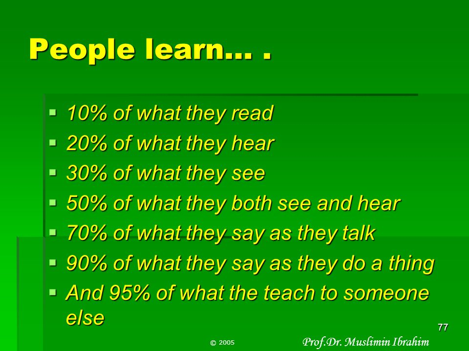 People learn… . 10% of what they read 20% of what they hear