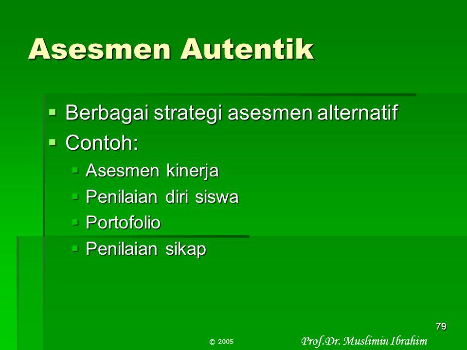 Asesmen Autentik Berbagai strategi asesmen alternatif Contoh: