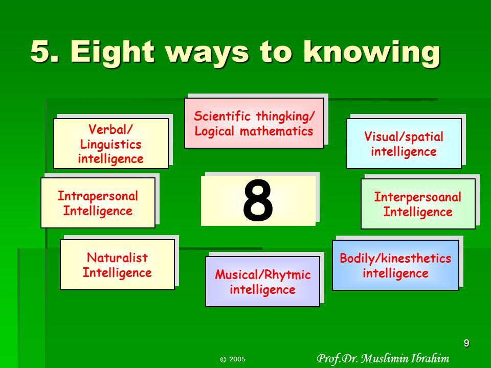 8 5. Eight ways to knowing Scientific thingking/ Logical mathematics