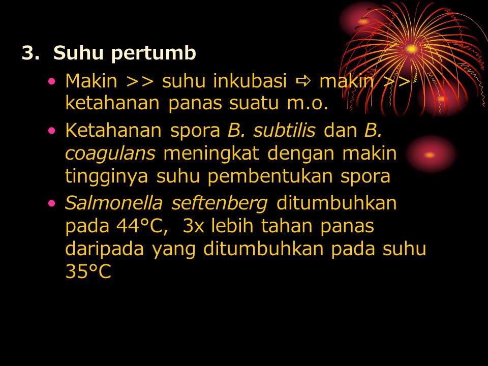 3. Suhu pertumb Makin >> suhu inkubasi  makin >> ketahanan panas suatu m.o.