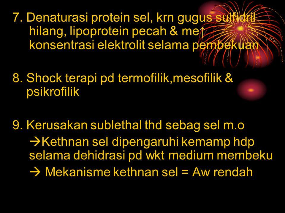 7. Denaturasi protein sel, krn gugus sulfidril hilang, lipoprotein pecah & me↑ konsentrasi elektrolit selama pembekuan