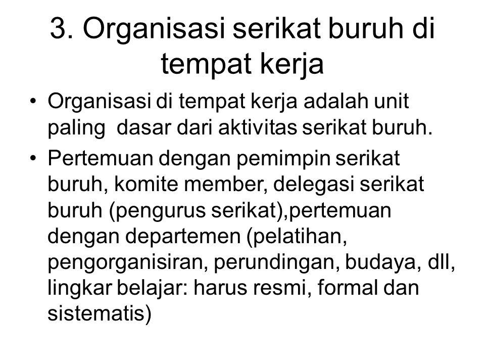 3. Organisasi serikat buruh di tempat kerja