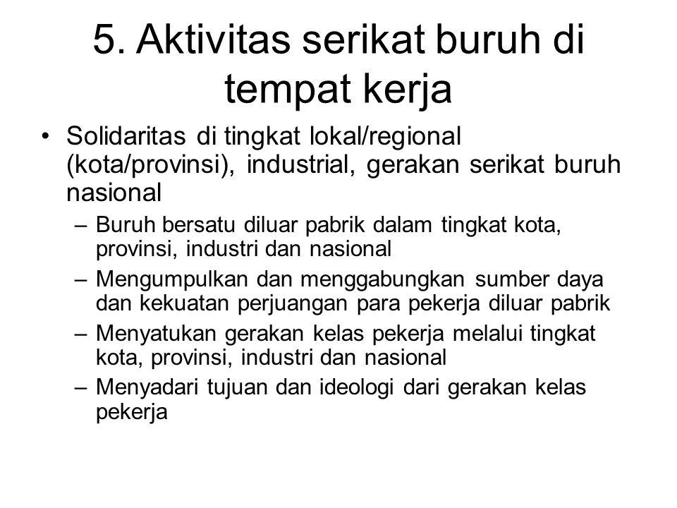 5. Aktivitas serikat buruh di tempat kerja