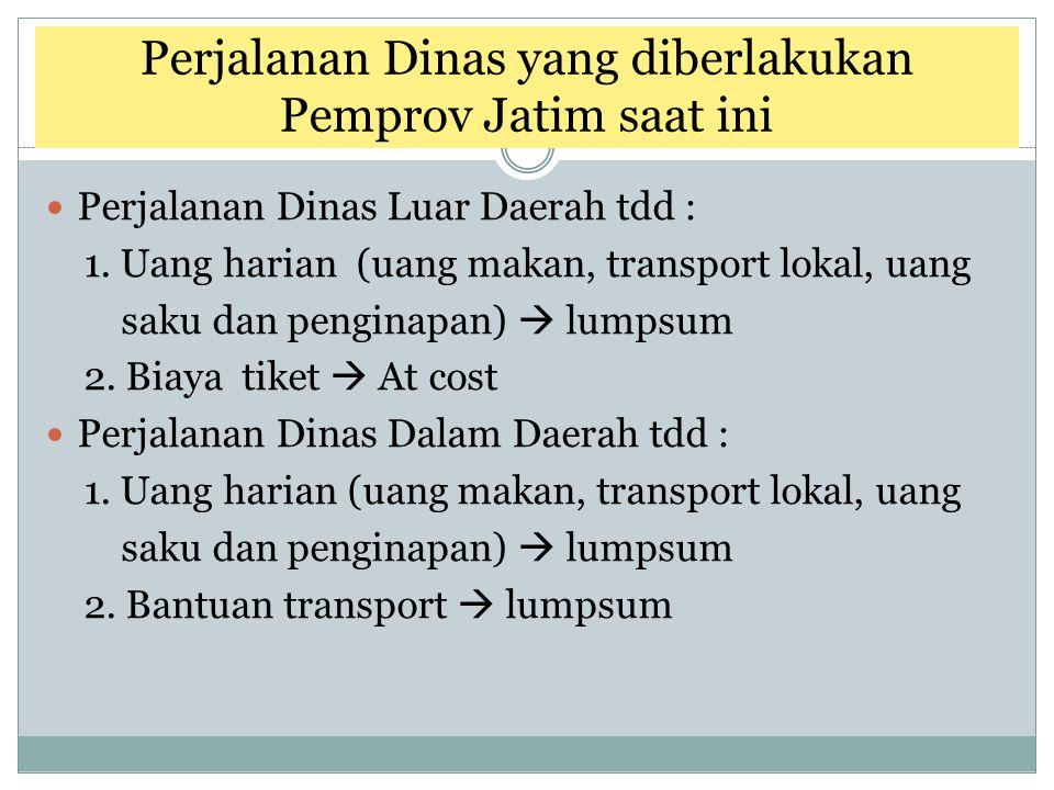 Perjalanan Dinas yang diberlakukan Pemprov Jatim saat ini