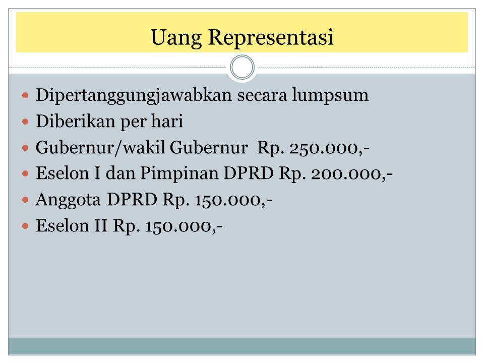Uang Representasi Dipertanggungjawabkan secara lumpsum