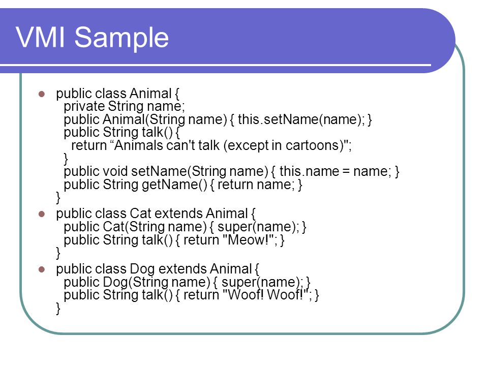 VMI Sample
