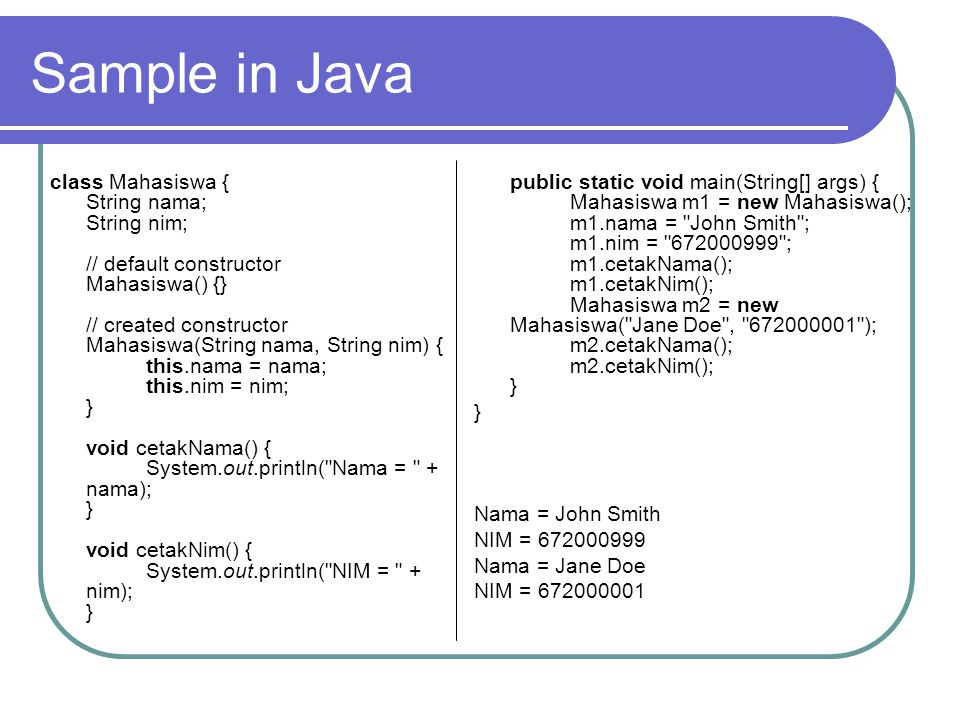 Sample in Java