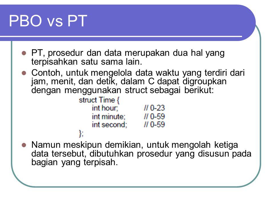 PBO vs PT PT, prosedur dan data merupakan dua hal yang terpisahkan satu sama lain.