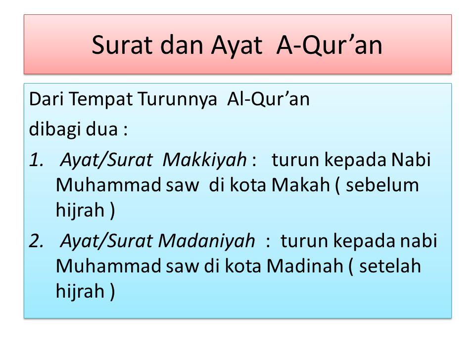 Surat dan Ayat A-Qur'an