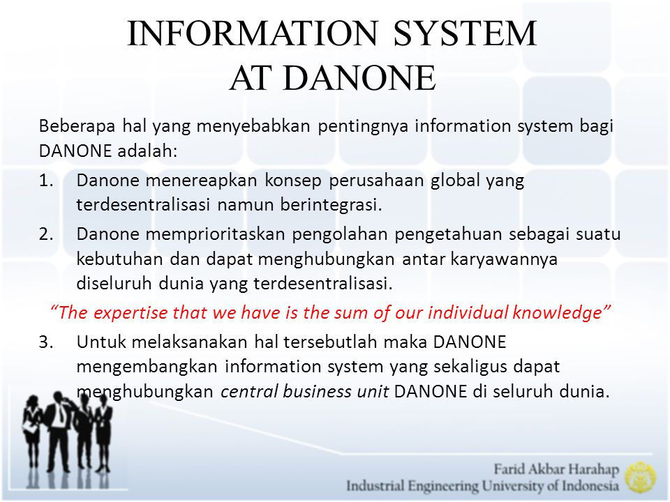 INFORMATION SYSTEM AT DANONE