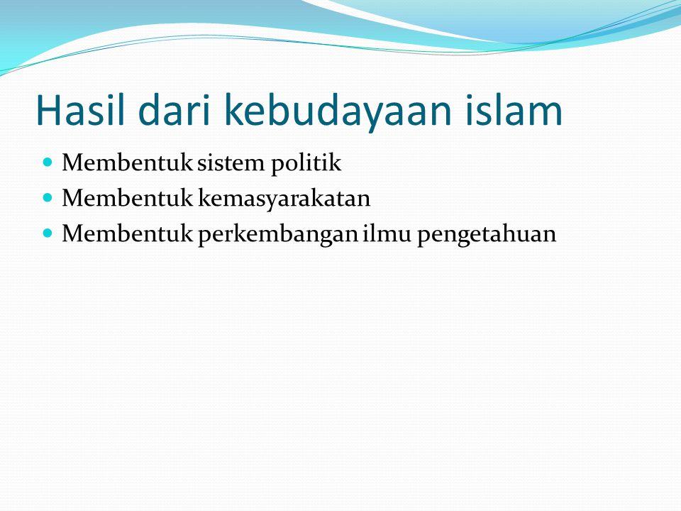 Hasil dari kebudayaan islam