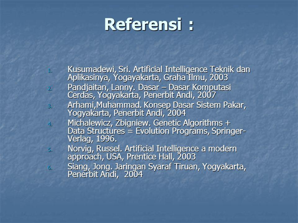 Referensi : Kusumadewi, Sri. Artificial Intelligence Teknik dan Aplikasinya, Yogayakarta, Graha Ilmu, 2003.