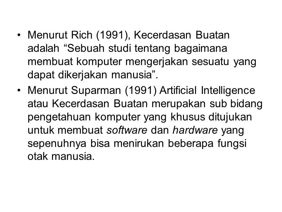 Menurut Rich (1991), Kecerdasan Buatan adalah Sebuah studi tentang bagaimana membuat komputer mengerjakan sesuatu yang dapat dikerjakan manusia .