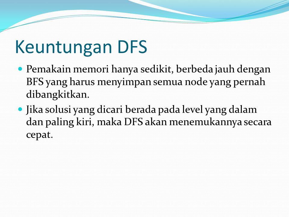 Keuntungan DFS Pemakain memori hanya sedikit, berbeda jauh dengan BFS yang harus menyimpan semua node yang pernah dibangkitkan.