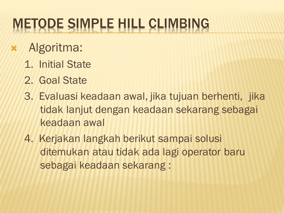 Metode simple hill climbing