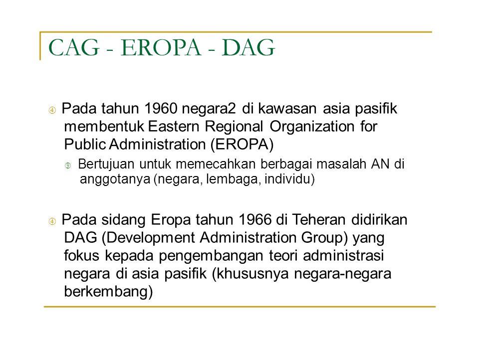 "CAG - EROPA - DAG "" Pada tahun 1960 negara2 di kawasan asia pasifik membentuk Eastern Regional Organization for Public Administration (EROPA)"