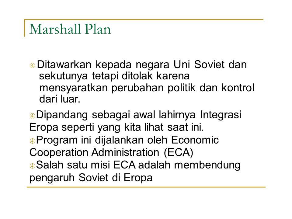 Marshall Plan mensyaratkan perubahan politik dan kontrol dari luar.
