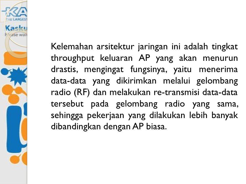Kelemahan arsitektur jaringan ini adalah tingkat throughput keluaran AP yang akan menurun drastis, mengingat fungsinya, yaitu menerima data-data yang dikirimkan melalui gelombang radio (RF) dan melakukan re-transmisi data-data tersebut pada gelombang radio yang sama, sehingga pekerjaan yang dilakukan lebih banyak dibandingkan dengan AP biasa.