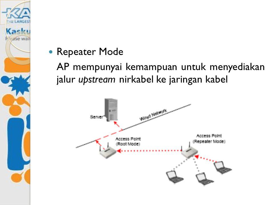 Repeater Mode AP mempunyai kemampuan untuk menyediakan jalur upstream nirkabel ke jaringan kabel