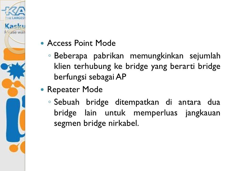 Access Point Mode Beberapa pabrikan memungkinkan sejumlah klien terhubung ke bridge yang berarti bridge berfungsi sebagai AP.