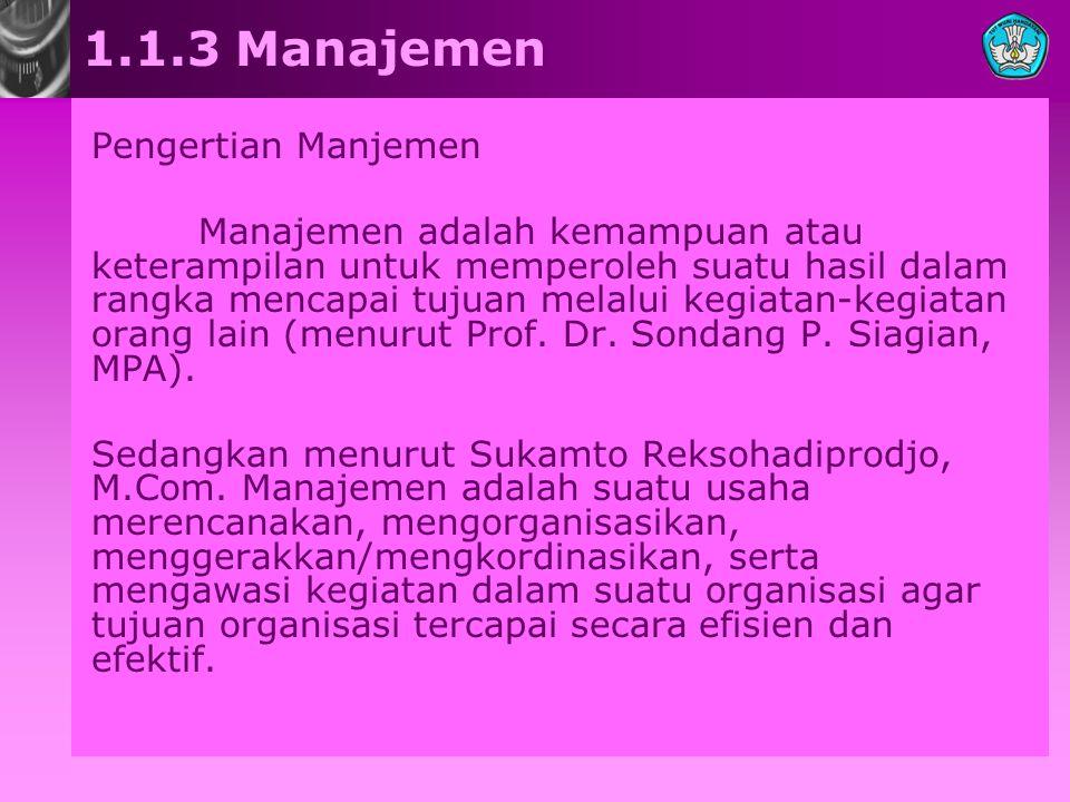 1.1.3 Manajemen Pengertian Manjemen