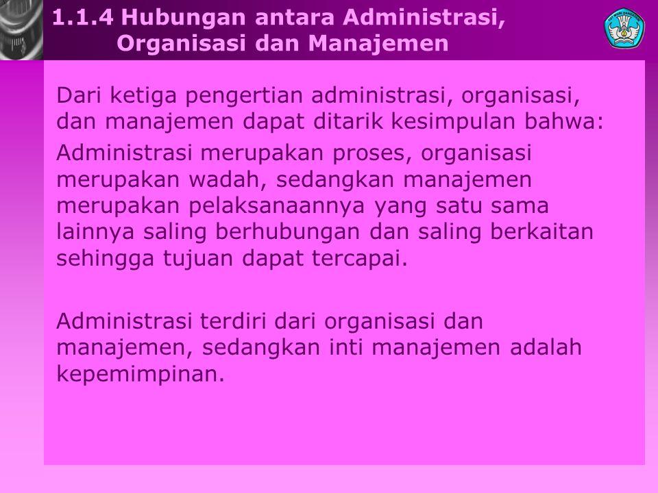 1.1.4 Hubungan antara Administrasi, Organisasi dan Manajemen