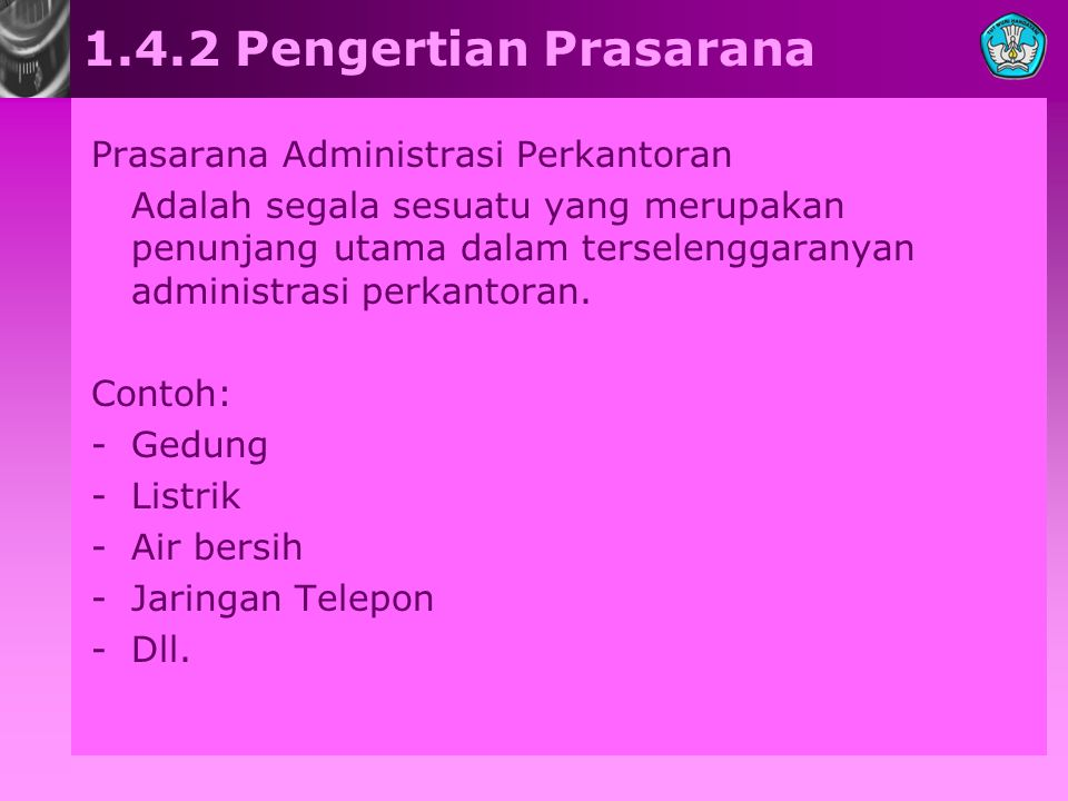 1.4.2 Pengertian Prasarana Prasarana Administrasi Perkantoran