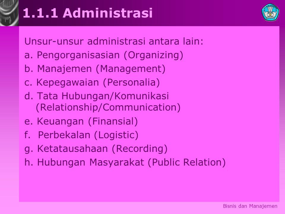 1.1.1 Administrasi Unsur-unsur administrasi antara lain: