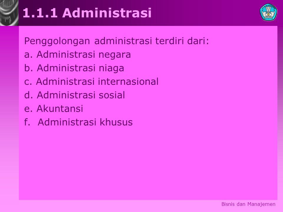 1.1.1 Administrasi Penggolongan administrasi terdiri dari: