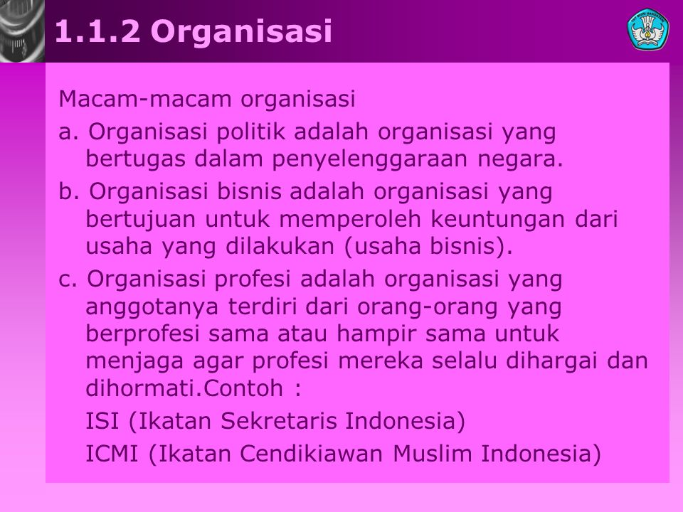 1.1.2 Organisasi Macam-macam organisasi