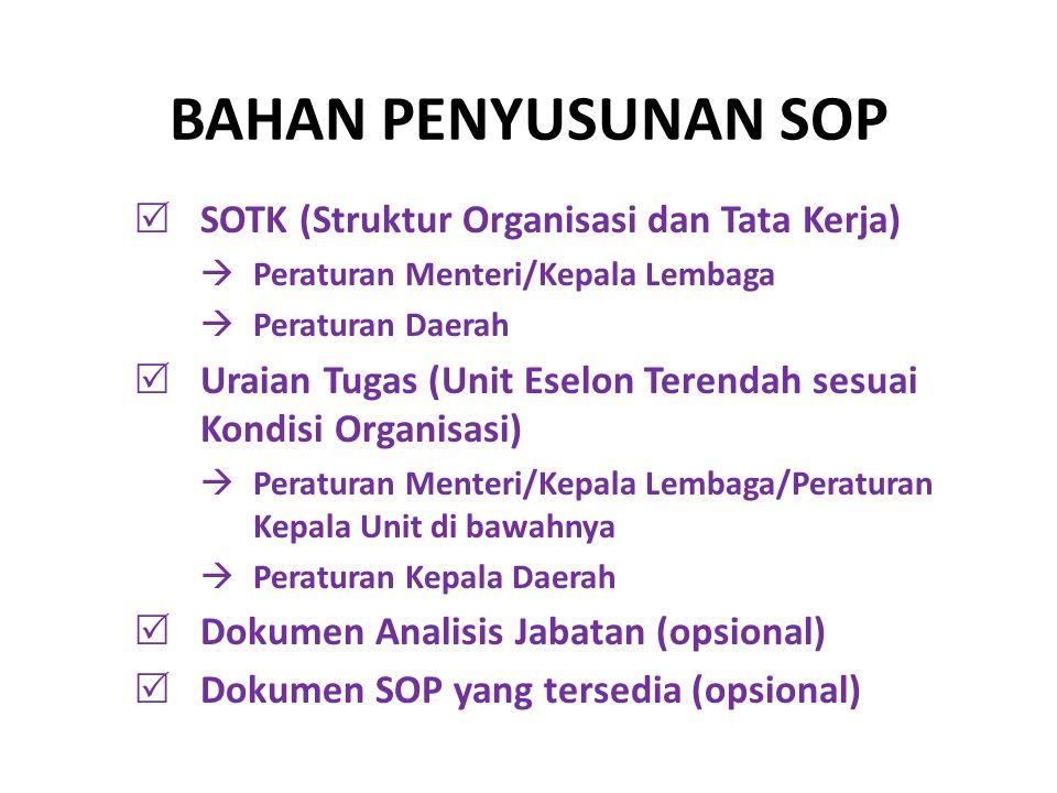 BAHAN PENYUSUNAN SOP SOTK (Struktur Organisasi dan Tata Kerja)