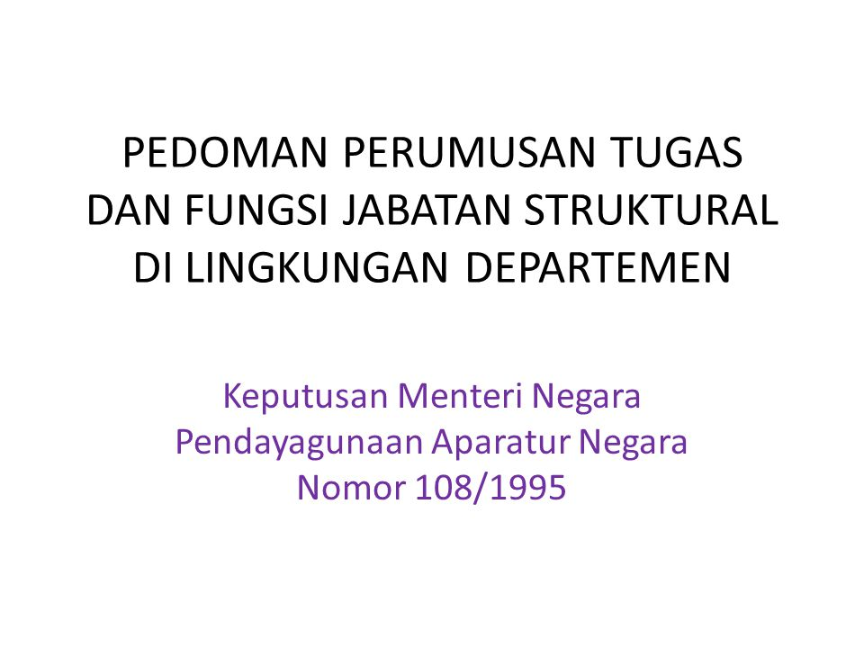 Keputusan Menteri Negara Pendayagunaan Aparatur Negara Nomor 108/1995