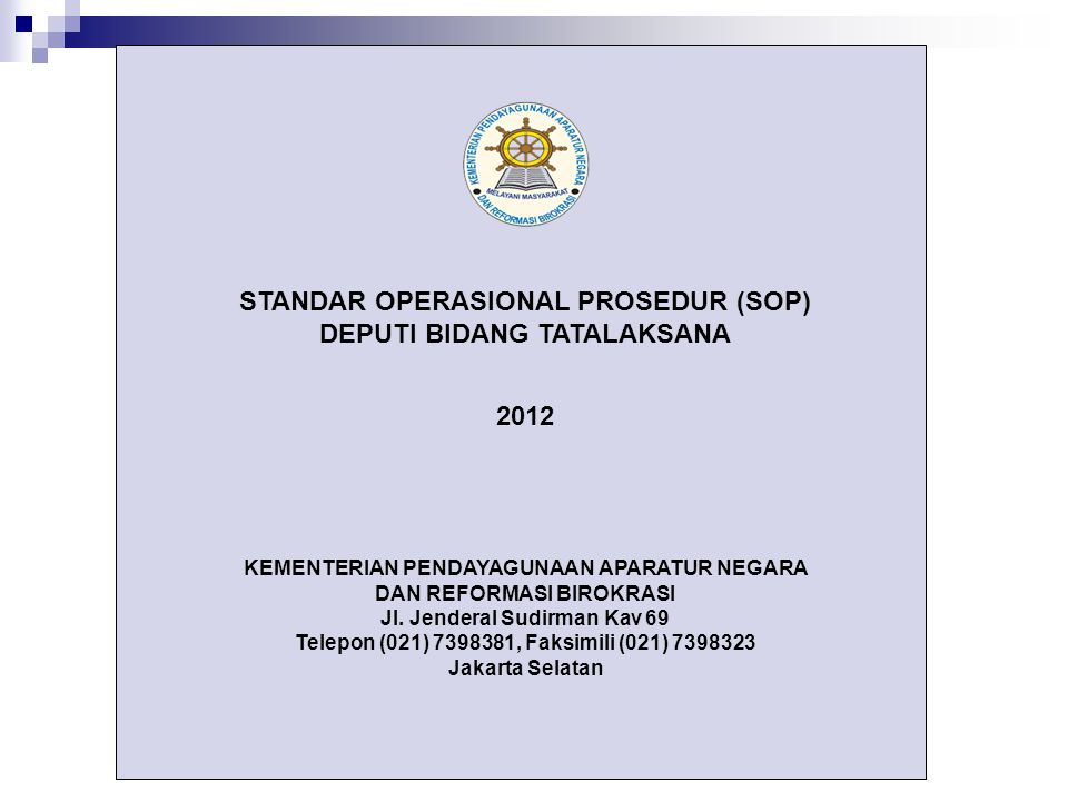 DEPUTI BIDANG TATALAKSANA 2012