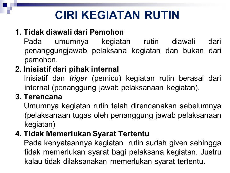 CIRI KEGIATAN RUTIN 1. Tidak diawali dari Pemohon