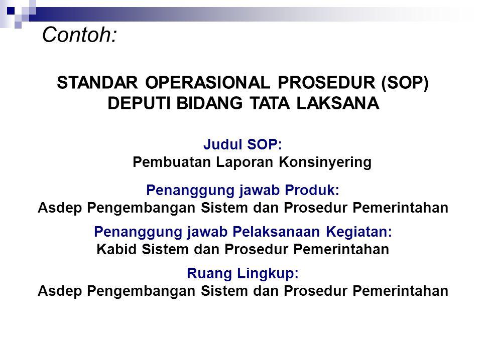 Contoh: STANDAR OPERASIONAL PROSEDUR (SOP) DEPUTI BIDANG TATA LAKSANA