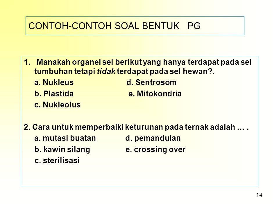 CONTOH-CONTOH SOAL BENTUK PG