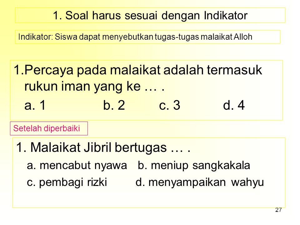 1. Soal harus sesuai dengan Indikator